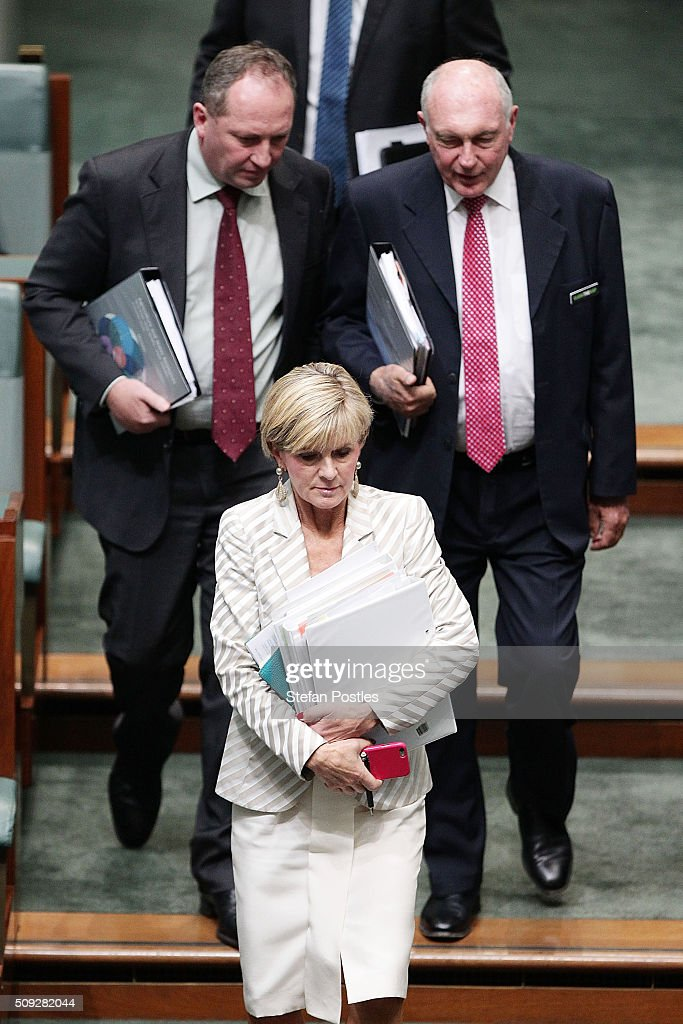Minister for Foreign Affairs <a gi-track='captionPersonalityLinkClicked' href=/galleries/search?phrase=Julie+Bishop&family=editorial&specificpeople=1198450 ng-click='$event.stopPropagation()'>Julie Bishop</a> arrives for House of Representatives question time at Parliament House on February 10, 2016 in Canberra, Australia.