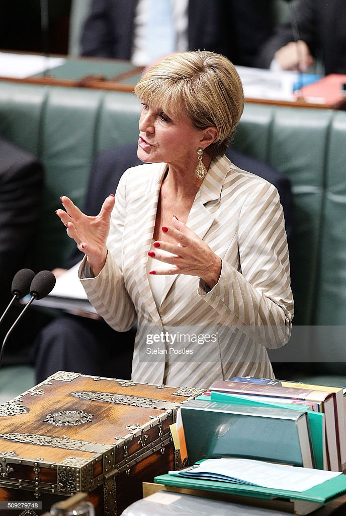 Minister for Foreign Affairs <a gi-track='captionPersonalityLinkClicked' href=/galleries/search?phrase=Julie+Bishop&family=editorial&specificpeople=1198450 ng-click='$event.stopPropagation()'>Julie Bishop</a> during House of Representatives question time at Parliament House on February 10, 2016 in Canberra, Australia.