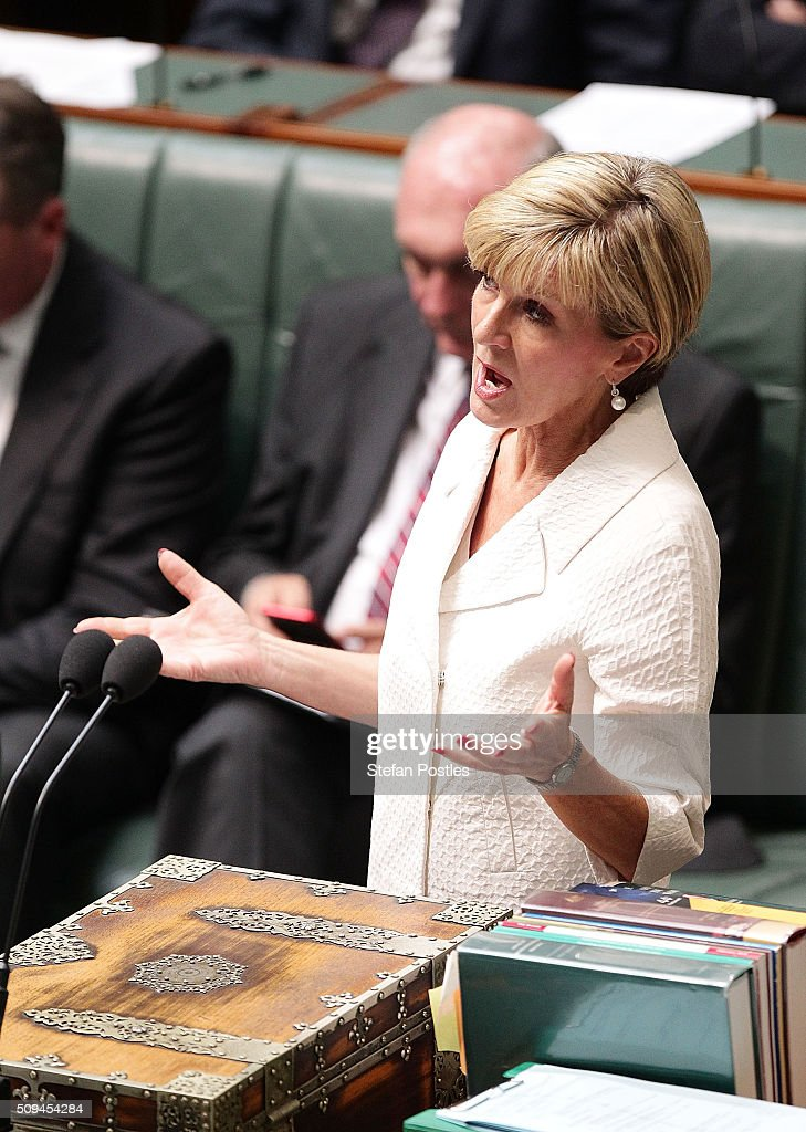 Minister for Foreign Affairs <a gi-track='captionPersonalityLinkClicked' href=/galleries/search?phrase=Julie+Bishop&family=editorial&specificpeople=1198450 ng-click='$event.stopPropagation()'>Julie Bishop</a> during House of Representatives question time at Parliament House on February 11, 2016 in Canberra, Australia. Nationals Leader and Deputy Prime Minister Warren Truss and Trade Minister Andrew Robb will retire at the next election.