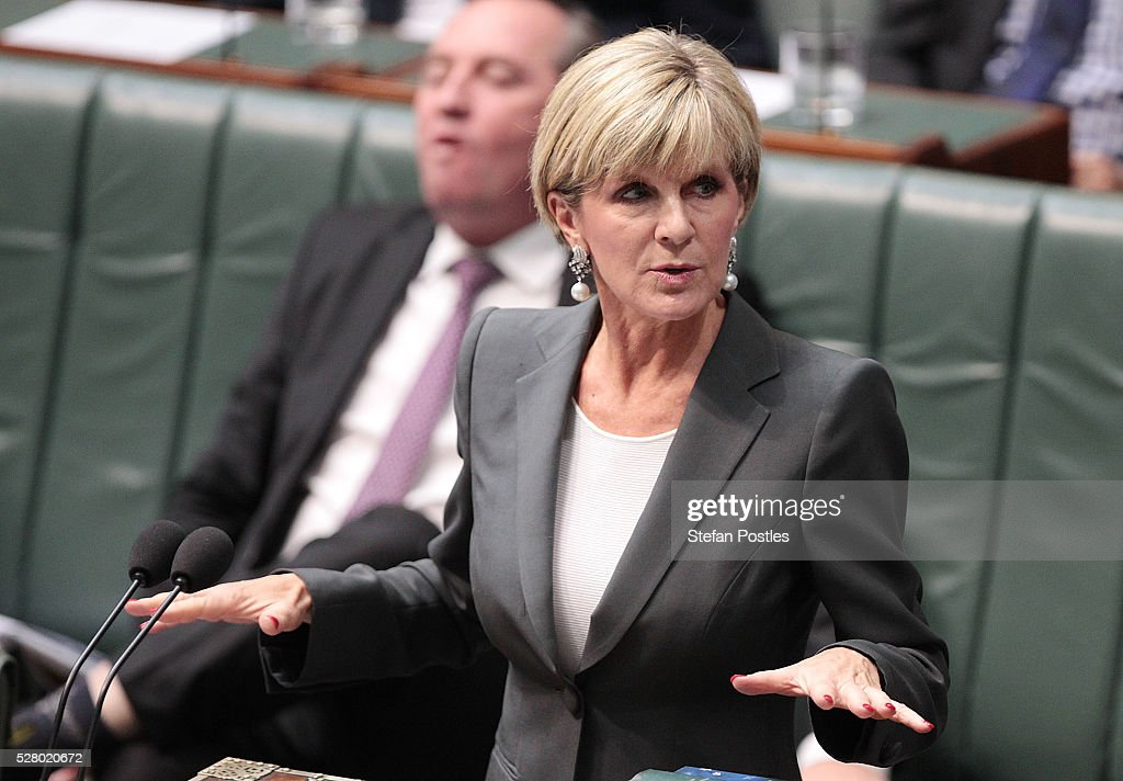 Minister for Foreign Affairs <a gi-track='captionPersonalityLinkClicked' href=/galleries/search?phrase=Julie+Bishop&family=editorial&specificpeople=1198450 ng-click='$event.stopPropagation()'>Julie Bishop</a> during House of Representatives question time at Parliament House on May 4, 2016 in Canberra, Australia. The Turnbull Goverment's first budget has delivered tax cuts for small and medium businesses, income tax cuts people earning over $80,000 a year,new measures to help young Australians into jobs and cutbacks to superannuation concessions for the wealthy.