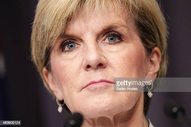 Minister for Foreign Affairs Julie Bishop speaks about the Governments 2628% carbon emissions target by 2020 during a joint press conference with...