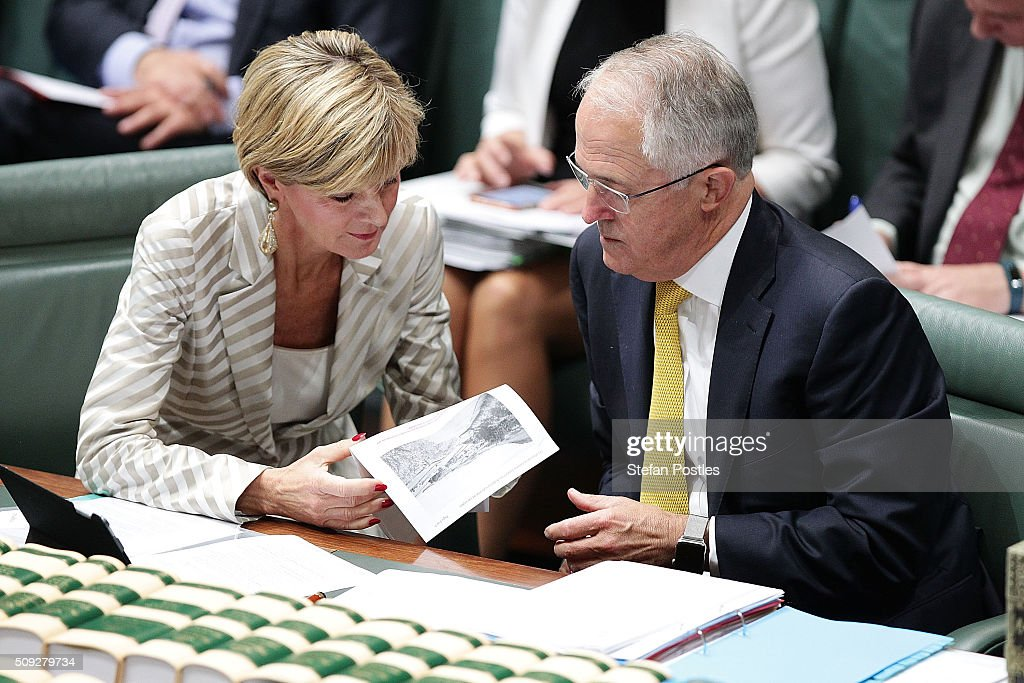Minister for Foreign Affairs <a gi-track='captionPersonalityLinkClicked' href=/galleries/search?phrase=Julie+Bishop&family=editorial&specificpeople=1198450 ng-click='$event.stopPropagation()'>Julie Bishop</a> speaks with Prime Minister <a gi-track='captionPersonalityLinkClicked' href=/galleries/search?phrase=Malcolm+Turnbull&family=editorial&specificpeople=2125595 ng-click='$event.stopPropagation()'>Malcolm Turnbull</a> during House of Representatives question time at Parliament House on February 10, 2016 in Canberra, Australia.