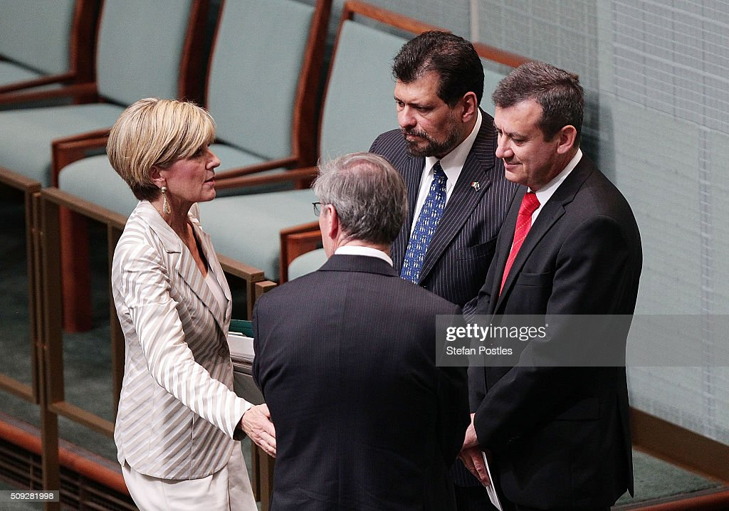 Minister for Foreign Affairs <a gi-track='captionPersonalityLinkClicked' href=/galleries/search?phrase=Julie+Bishop&family=editorial&specificpeople=1198450 ng-click='$event.stopPropagation()'>Julie Bishop</a> speaks with the Ambassador of Mexico, Armando Alvarex Reina during House of Representatives question time at Parliament House on February 10, 2016 in Canberra, Australia.