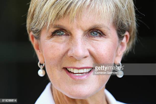 Minister for Foreign Affairs Julie Bishop talks during the launch of the Cricket Australia Asian Sports Partnership Program Launch at Kirribilli...