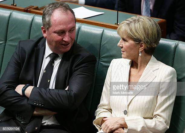 Minister for Foreign Affairs Julie Bishop talks to Deputy Prime Minister Barnaby Joyce at Parliament House on April 18 2016 in Canberra Australia...