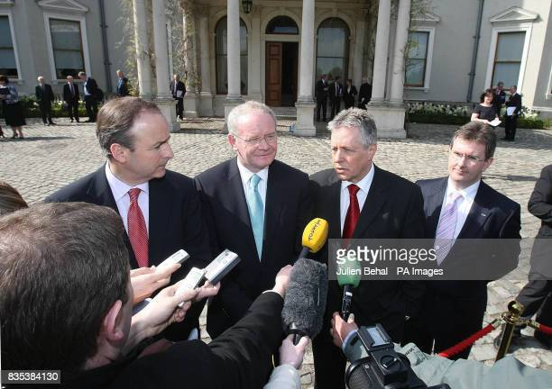 Minister for Foreign Affairs Michael Martin Northern Ireland First Minister Peter Robinson Deputy First Minister Martin McGuiness and Jeffrey...