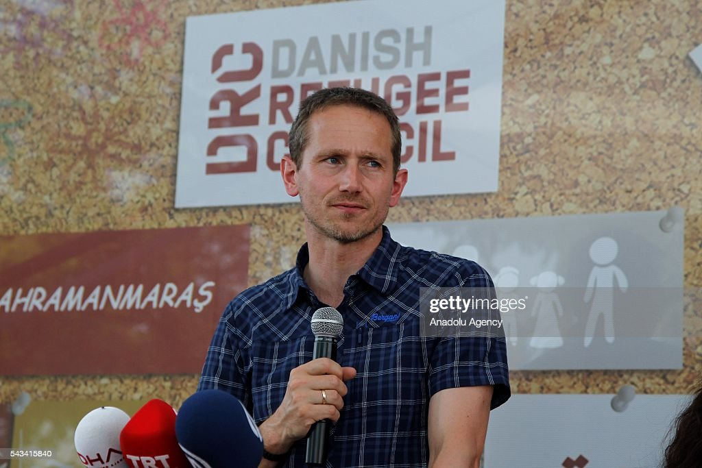 Minister for Foreign Affairs of Denmark, Kristian Jensen delivers a speech as he visits community center for Syrian refugees in Onikisubat district of Kahramanmaras, Turkey on June 28, 2016.