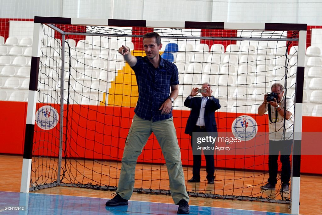 Minister for Foreign Affairs of Denmark, Kristian Jensen plays football with Syrian refugee kids as he visits community center for Syrian refugees in Onikisubat district of Kahramanmaras, Turkey on June 28, 2016.