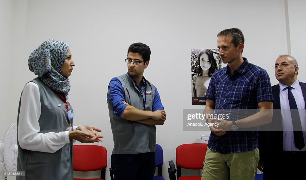 Minister for Foreign Affairs of Denmark, Kristian Jensen (2nd R) visits community center for Syrian refugees in Onikisubat district of Kahramanmaras, Turkey on June 28, 2016.