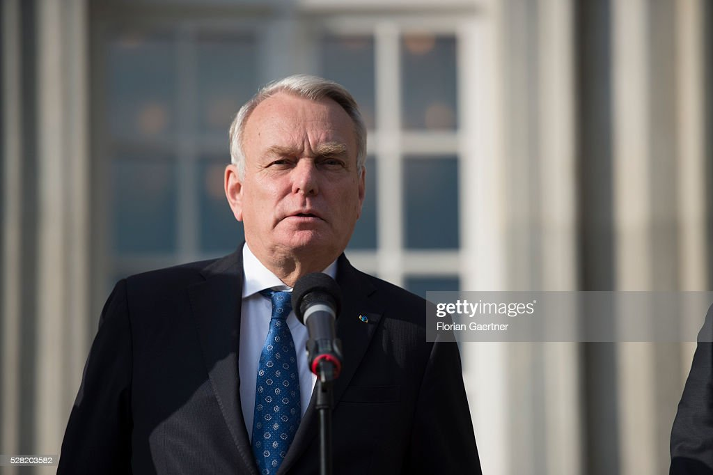 Minister for Foreign Affairs of France <a gi-track='captionPersonalityLinkClicked' href=/galleries/search?phrase=Jean-Marc+Ayrault&family=editorial&specificpeople=551961 ng-click='$event.stopPropagation()'>Jean-Marc Ayrault</a> speaks to the media as a part of the conversations with the syrian representative of the opposition Riad Hijab (not pictured) on May 04, 2016 in Berlin, Germany. The meeting was held to discuss Syria as concerns grow over the faltering ceasefire in the war-torn country.
