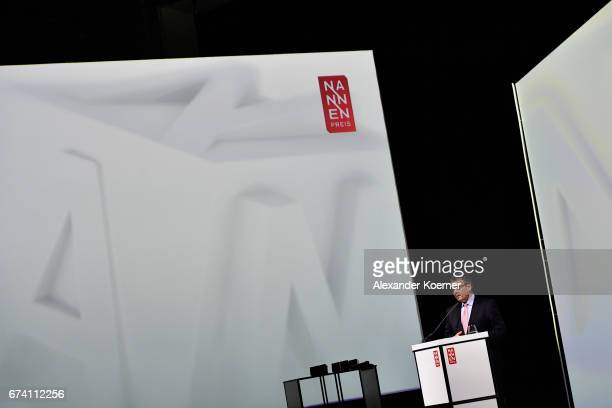 Minister for Foreign Affairs Sigmar Gabriel speaks on stage at the Nannen Award 2017 on April 27 2017 in Hamburg Germany