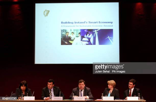 Minister for Health Mary Harney Minister Brian Lenihan Taoiseach Brian Cowen Tanaiste Mary Coughlan and Minister Eamon Ryan at the launch of the...