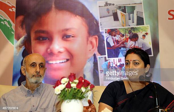 Minister for Human Resource Development Smriti Zubin Irani and Secretary Department of School education and literacy Rajarshi Bhattacharya talking...