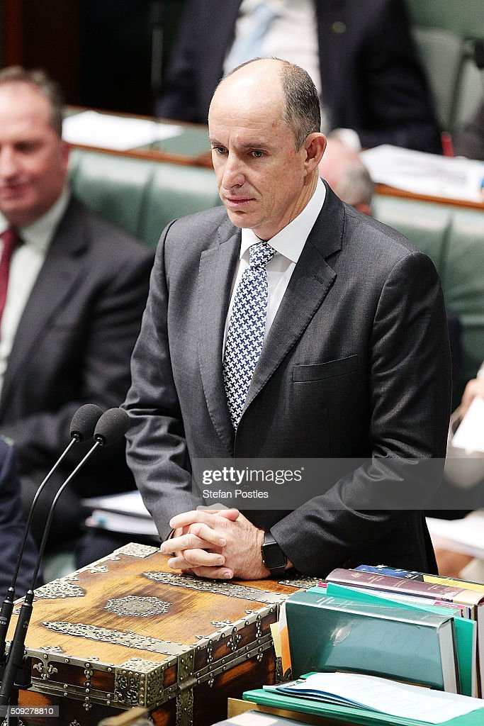 Minister for Human Services Stuart Robert during House of Representatives question time at Parliament House on February 10, 2016 in Canberra, Australia.
