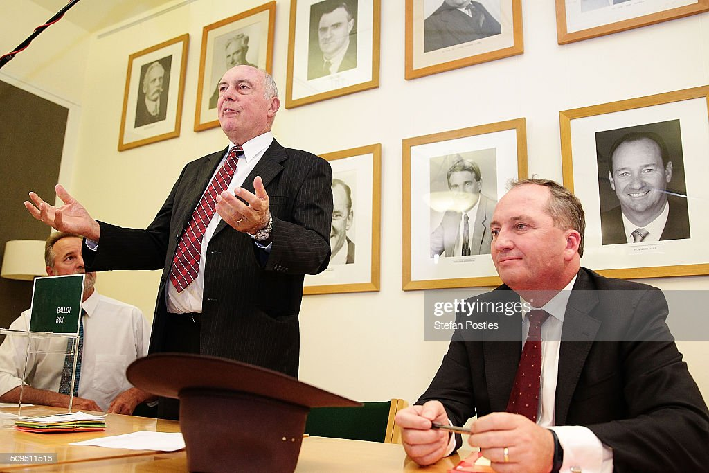 Minister for Indigenous Affairs Nigel Scullion, Deputy Prime Minister Warren Truss and Minister for Agriculture and Water Resources Barnaby Joyce ahead of the National Party leadership ballot in the Nationals Party room at Parliament House on February 11, 2016 in Canberra, Australia. Warren Truss announced his retirement earlier on Thursday, triggering a leadership ballot.