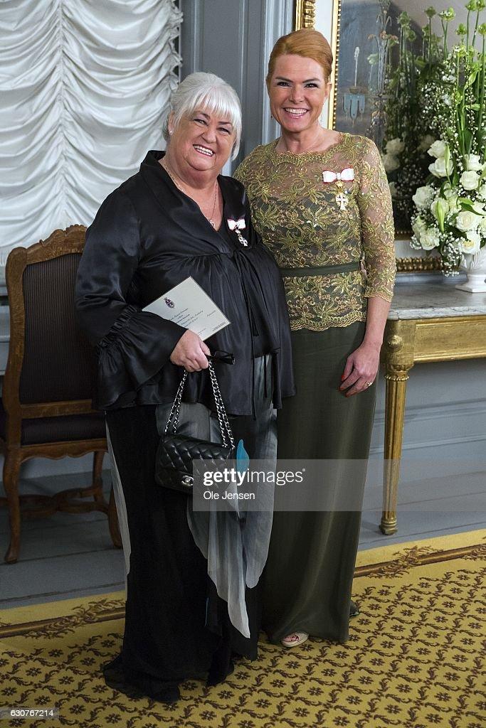 Minister for Integration Inger Stojberg (R) and Minister for Elderly Thyra Frank arrive to Queen Margrethe of Denmark's New Year's reception at Amalienborg on January 1, 2017 in Copenhagen, Denmark.