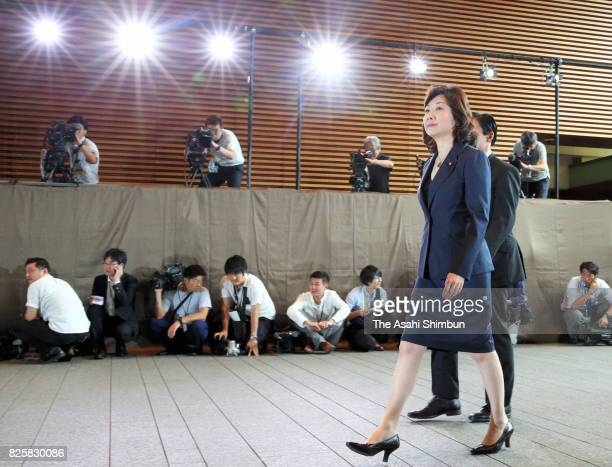 Minister for Internal Affairs and Communications and Minister in charge of women's empowerment Seiko Noda is seen on arrival at the prime minister's...