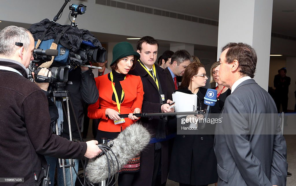 Minister for Justice, Equality and Defence, <a gi-track='captionPersonalityLinkClicked' href=/galleries/search?phrase=Alan+Shatter&family=editorial&specificpeople=9457948 ng-click='$event.stopPropagation()'>Alan Shatter</a> speaks to the media on his arrival to the Informal Justice and Home Affairs Council meeting in Dublin Castle, Dublin, Ireland on January 18, 2013, as part of Ireland's hosting of the EU Presidency.
