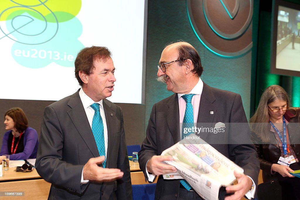 Minister for Justice, Equality and Defence, <a gi-track='captionPersonalityLinkClicked' href=/galleries/search?phrase=Alan+Shatter&family=editorial&specificpeople=9457948 ng-click='$event.stopPropagation()'>Alan Shatter</a> (L) talks with Rafael Fernandez-pita, Deputy Director, DG Justice and Home Affairs, Council of the European Union at the Informal Justice and Home Affairs Council meeting in Dublin Castle, Dublin, Ireland on January 18, 2013, as part of Ireland's hosting of the EU Presidency. (Photo by Mac Innes Photography/Justin Mac Innes/via Getty Images) *