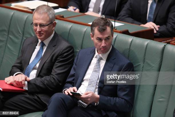 Minister for Justice Michael Keenan during House of Representatives question time at Parliament House on August 17 2017 in Canberra Australia Justice...