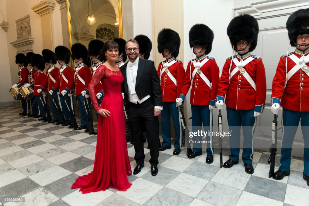 Minister For Public Innovation Sophie Loehde and husband during arrival to the to the State Dinner on the occasion of the visiting Belgian King and Queen at Christiansborg on March 28, 2017 in Copenhagen, Denmark. The royal Belgian couple will be on a state visit from March 28 till March 30.