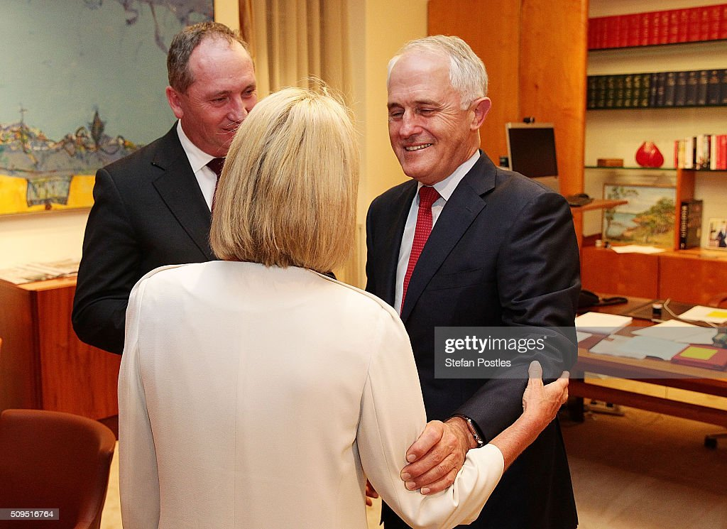 Minister for Rural Health Fiona Nash is congratulated by Prime Minister <a gi-track='captionPersonalityLinkClicked' href=/galleries/search?phrase=Malcolm+Turnbull&family=editorial&specificpeople=2125595 ng-click='$event.stopPropagation()'>Malcolm Turnbull</a> after becoming the new Deputy Leader of the National Party at Parliament House on February 11, 2016 in Canberra, Australia. Warren Truss announced his retirement earlier on Thursday, triggering a leadership ballot.