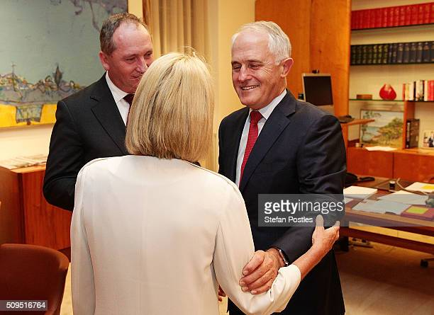 Minister for Rural Health Fiona Nash is congratulated by Prime Minister Malcolm Turnbull after becoming the new Deputy Leader of the National Party...
