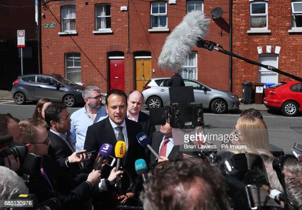 Minister for Social Protection Leo Varadkar speaking to the media on Leo Street in Dublin as he is to run for the leadership of Fine Gael