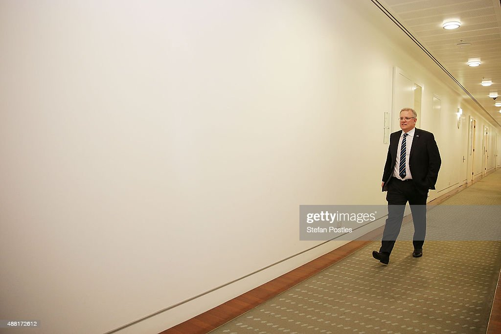 Minister for Social Services <a gi-track='captionPersonalityLinkClicked' href=/galleries/search?phrase=Scott+Morrison+-+Politician&family=editorial&specificpeople=15789813 ng-click='$event.stopPropagation()'>Scott Morrison</a> arrives at the Liberal party room for the leadership ballot at Parliament House on September 14, 2015 in Canberra, Australia. Malcolm Turnbull announced this morning he would be challenging Tony Abbott for the Liberal Party leadership.
