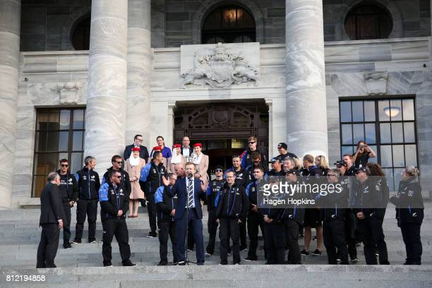 Minister for Sport and Recreation Jonathan Coleman makes a speech during the Team New Zealand Americas Cup Wellington Welcome Home Parade on July 11...