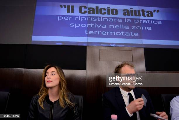 Minister for Sport Luca Lotti and the Undersecretary of State to the Presidency of the Council Maria Elena Boschi at the Presentation of the Football...