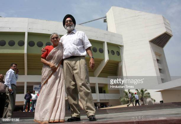 Minister for Sports and Youth Affairs MS Gill and Delhi Chief Minister Sheila Dikshit pose in front of The Indira Gandhi Indoor Gymnastics Stadium...