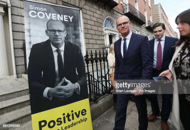 Minister for the Environment and Housing Simon Coveney arrives at Fine Gael HQ in Dublin to make his announcement to run for the leadership of Fine...