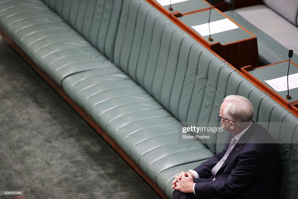 Minister for Trade and Investment Andrew Robb waits to hear Deputy Prime Minister Warren Truss announce his retirement in the House of Representatives on February 11, 2016 in Canberra, Australia. Nationals Leader and Deputy Prime Minister Warren Truss and Trade Minister Andrew Robb will retire at the next election.
