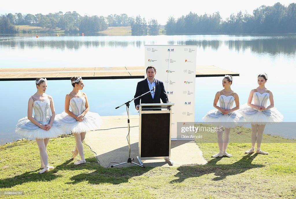 Minister for Trade, Tourism and Major Events Stuart Ayres addresses the media alongside ballet dancers during a media call for the Australian Ballet at Sydney International Regatta Centre on May 6, 2016 in Sydney, Australia.