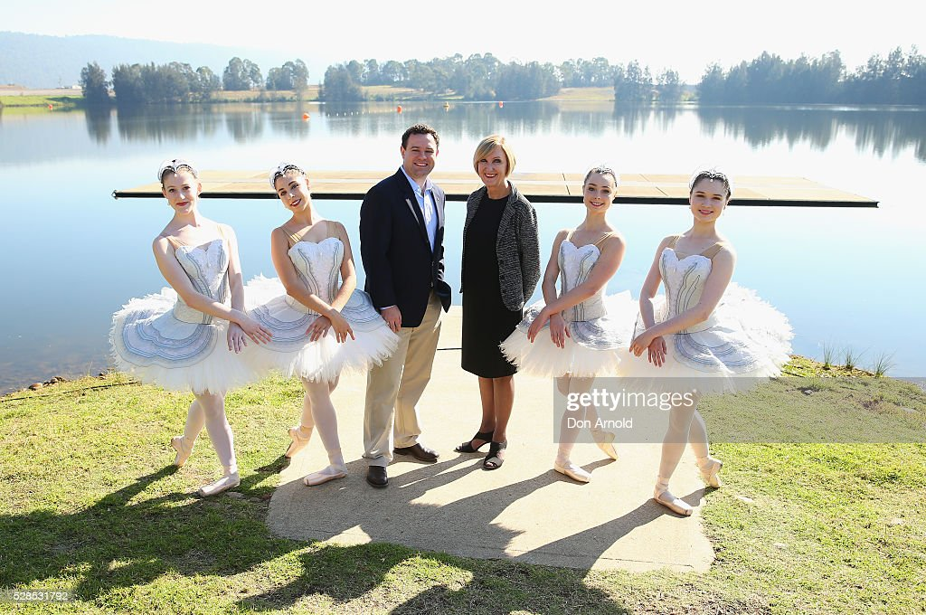 Minister for Trade, Tourism and Major Events Stuart Ayres poses alongside ballet dancers and The Australian Ballet's Executive Director Libby Christie during a media call for the Australian Ballet at Sydney International Regatta Centre on May 6, 2016 in Sydney, Australia.