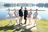 Minister for Trade Tourism and Major Events Stuart Ayres poses alongside ballet dancers and The Australian Ballet's Executive Director Libby Christie...