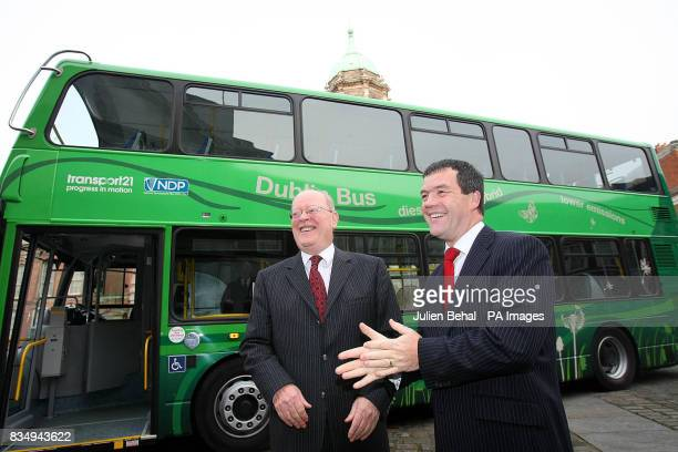 Minister for Transport Noel Dempsey and Dr John Lynch Chairman of CIE unveils Ireland's first HybridElectric bus at a launch in Dublin Castle