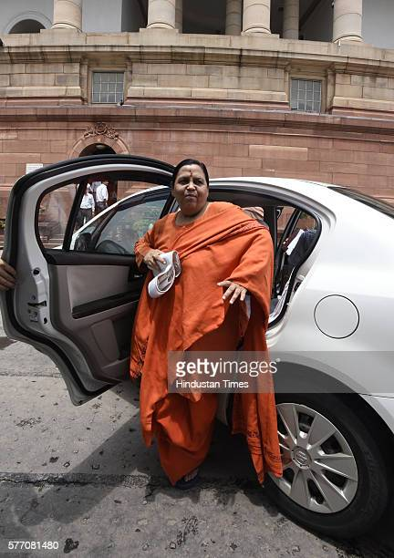 Minister for Water Resources River Development and Ganga Rejuvenation Uma Bharti during the Parliament Monsoon Session on July 18 2016 in New Delhi...