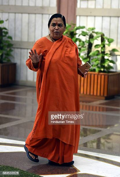 Minister for Water Resources River Development and Ganga Rejuvenation Uma Bharti at the BJP Parliamentary Party Meeting at Parliament House on July...