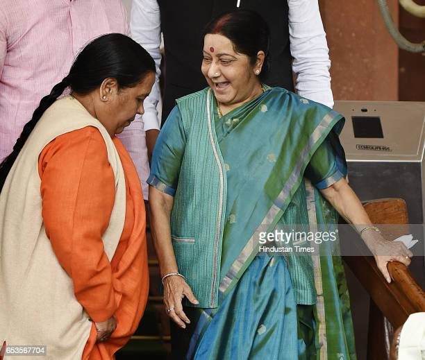 Minister for water resources river development and Ganga rejuvenation Uma bharti welcome the Minister of External Affairs of India Sushma Swaraj...