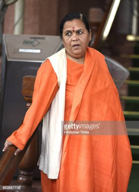 Minister for water resources river development and Ganga rejuvenation Uma Bharti during the attending Parliament Budget Session Part 2 on March 15...