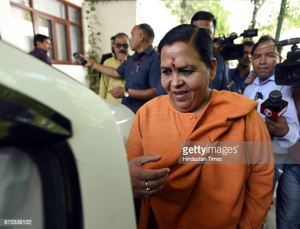 Minister for Water Resources River Development and Ganga Rejuvenation Uma Bharti addresses a press conference after the Supreme Court verdict on...