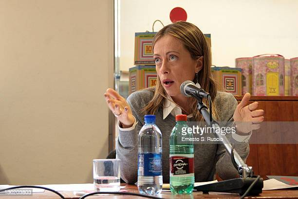Minister Giorgia Meloni attends the Press Conference of the 6th International Rome Film Fest at Notebook on October 24 2011 in Rome Italy