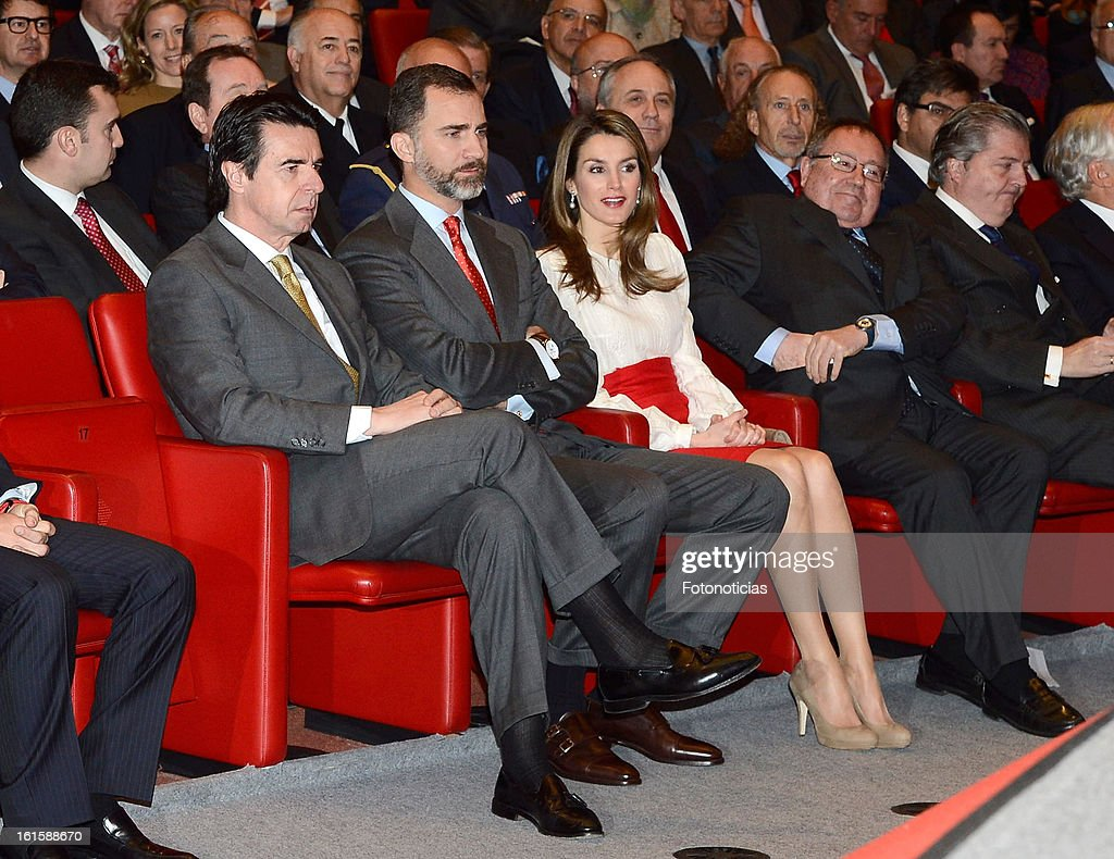 Minister Jose Manuel Soria, Prince Felipe of Spain and Princess Letizia of Spain attend the acreditations ceremony for honorary Spain 'Brand Ambassadors' at the Ciudad Financiera del Banco Santander on February 12, 2013 in Madrid, Spain.