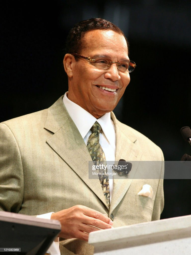 Minister <a gi-track='captionPersonalityLinkClicked' href=/galleries/search?phrase=Louis+Farrakhan&family=editorial&specificpeople=215023 ng-click='$event.stopPropagation()'>Louis Farrakhan</a> during Minister Farrakhan Delivers 'One Nation Under God' Message on Saviours' Day in Detroit, Michigan, United States.