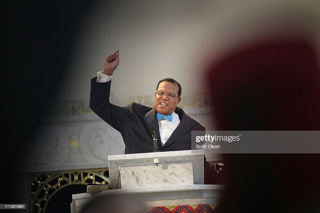 Minister <a gi-track='captionPersonalityLinkClicked' href=/galleries/search?phrase=Louis+Farrakhan&family=editorial&specificpeople=215023 ng-click='$event.stopPropagation()'>Louis Farrakhan</a>, leader of the Nation of Islam, gets a standing ovation from his followers as he makes a point while speaking at a press conference at Mosque Maryam on March 31, 2011 in Chicago, Illinois. During the press conference Farrakhan expressed support for Libyan leader Moammar Gadhafi and called for an immediate cease fire in Libya. Farrakhan also told his followers at the press conference to stockpile food and water in their homes, predicting a major earthquake would hit the United States in the near future.