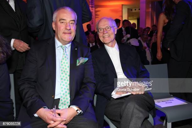 Minister Ludwig Spaenle and Udo Brandhorst during the PIN Party 'Let's party 4 art' at Pinakothek der Moderne on November 18 2017 in Munich Germany