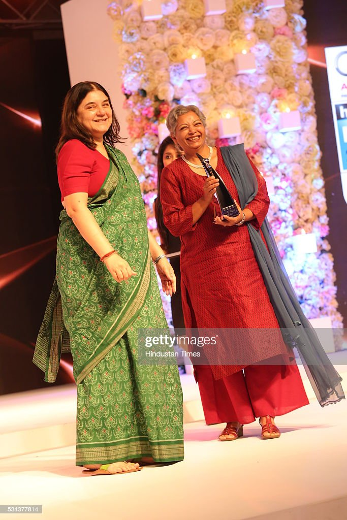WCD Minister Maneka Sanjay Gandhi during a sixth edition of Hindustan Times Most Stylish Awards 2016 at Hotel JW Marriot, Aerocity on May 24, 2016 in New Delhi, India.