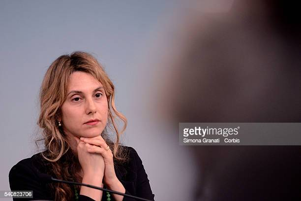 Minister Marianna Madia during a press conference at Palazzo Chigi after the Council of Ministers No 120 speaking about the reform of public...